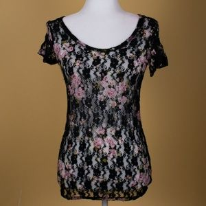 BKE Black Lace with Floral Print Sheer Top